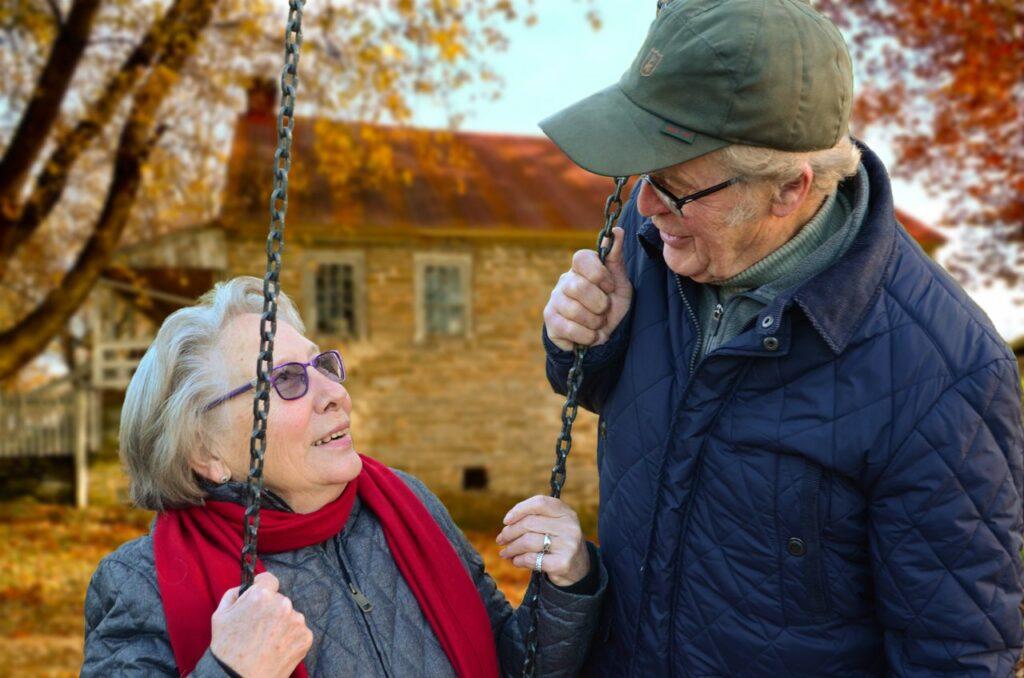 older adults talking